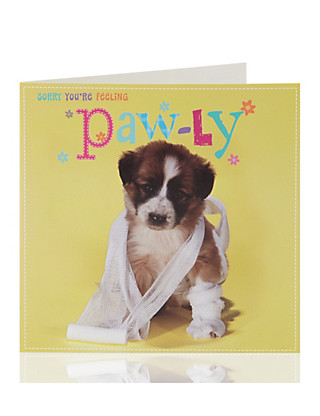 Get Well Cute Dog Greetings Card Home