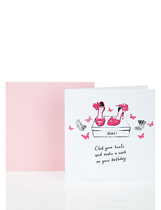 Classic Pink & White Shoes Birthday Card Home
