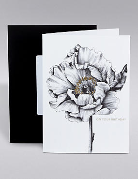 Black & Gold Rose Birthday Card
