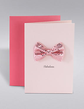 Pink Sequin Bow Birthday Card