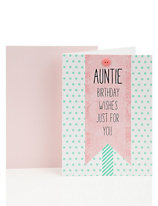 Green Spotty Auntie Birthday Greetings Card Home
