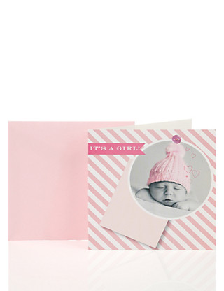 Pink Photo Baby Card Home
