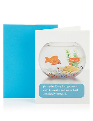 Battered Fish Birthday Greetings Card Home
