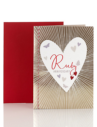 Ruby Wedding Anniversary Card Home