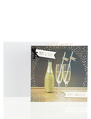 Mum & Dad Champagne Anniversary Card Home