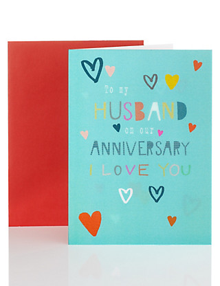 Holographic Husband Anniversary Card Home