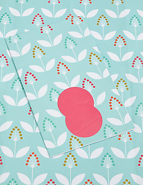 Light Blue Floral Print Sheet Wrapping Paper, , catlanding