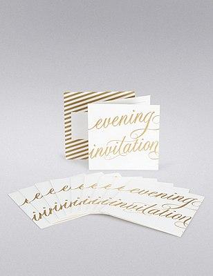 Gold Calligraphy Wedding Evening Invitations, , catlanding