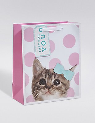 Cute Kitten Pink Spotted Medium Gift Bag, , catlanding
