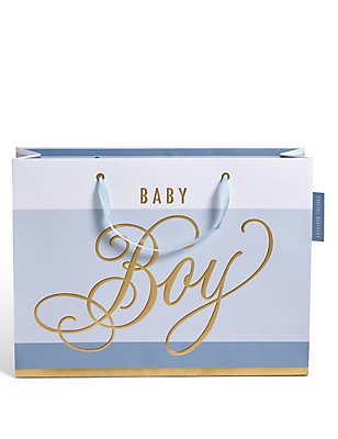 Blue Striped Baby Boy Large Gift Bag, , catlanding