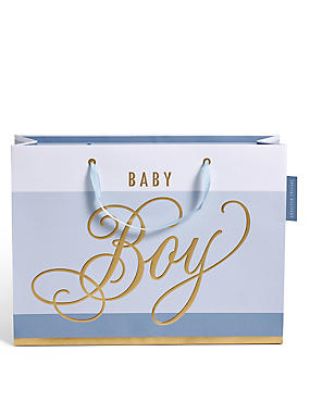 Blue Striped Baby Boy Large Gift Bag, , catlanding