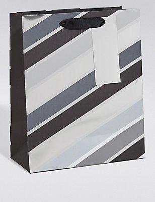 Grey & Black Striped Medium Gift Bag, , catlanding