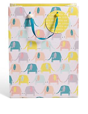 Grand sac cadeau à motif éléphant, , catlanding
