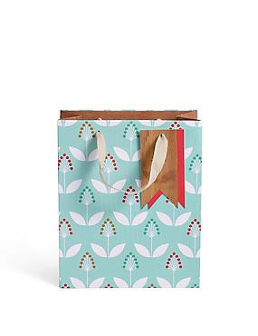 Light Blue Floral Print Small Gift Bag, , catlanding