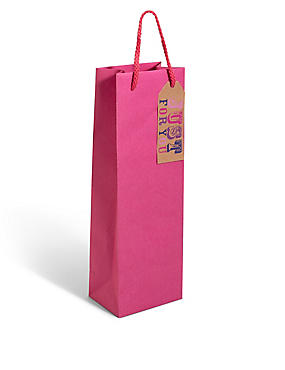 Pink Kraft Bottle Bag, , catlanding