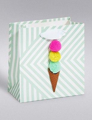 Pom-Pom Ice Cream Small Gift Bag, , catlanding
