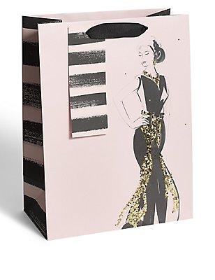 Large Pink & Gold Lady Gift Bag, , catlanding
