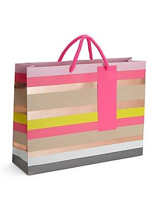 Colourful Stripes Large Gift Bag, , catlanding