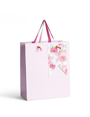 Floral & Candy Stripe Medium Gift Bag, , catlanding
