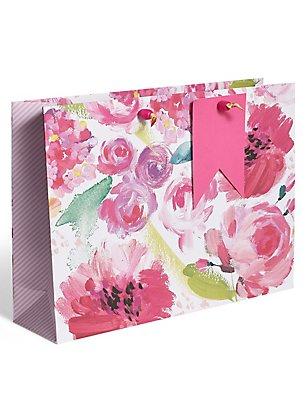 Painted Floral Large Gift Bag, , catlanding