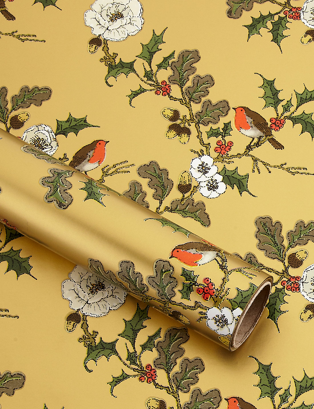 Gold robin holly christmas wrapping paper ms gold robin holly christmas wrapping paper negle Images