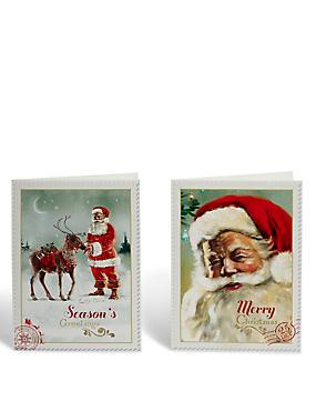 Santa Christmas Cards - Pack of 20, , catlanding