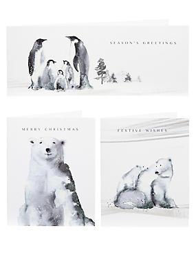 Inky Winter Scene Christmas Cards - Pack of 20, , catlanding
