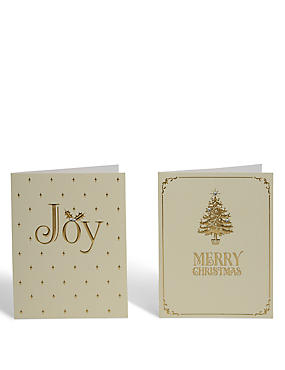 Gold Joy Christmas Charity Cards - Pack of 20, , catlanding