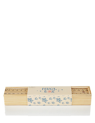 Boutique Wooden Pencil Box with Pencils Home