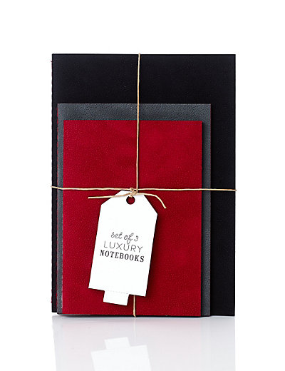 Set of 3 Luxury Suede Effect Notebooks Home