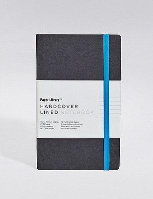 Luna Black & Blue Hardcover A5 Notebook, , catlanding