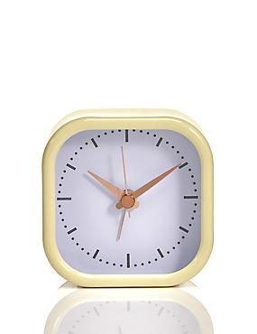 Round Square Alarm Clock, YELLOW, catlanding