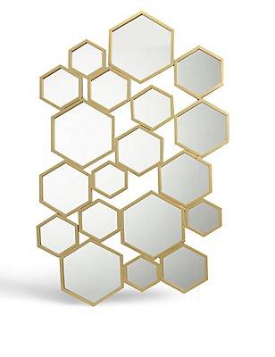 Hexagon Metal Frame Mirror, , catlanding