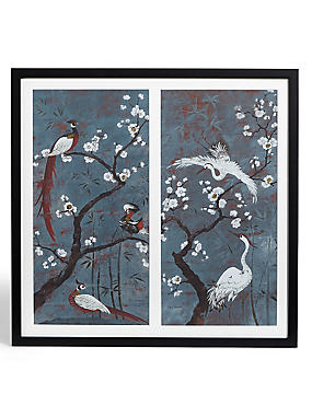 Oriental Birds Double Wall Art, , catlanding