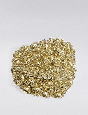 Heart Rose Trinket Box, GOLD, catlanding