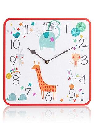 Colourful Animal Wall Clock, , catlanding