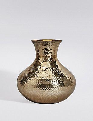 Short Hammered Vase, GOLD, catlanding