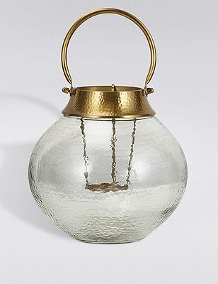 Large Mottled Glass Lantern, GOLD MIX, catlanding