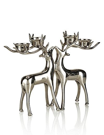 Silver Reindeer Candle Holder Uk - Candle