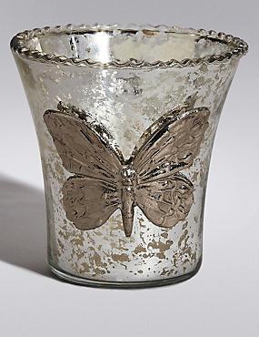 Teelichthalter aus Glas im Schmetterlingsdesign, , catlanding