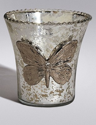 Butterfly Glass Tealight Holder, , catlanding