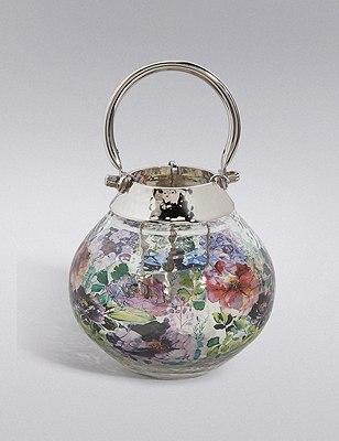 Floral Extra Small Glass & Metal Lantern, , catlanding