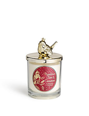 Mandarin, Cinnamon & Clove Scented Lidded & Filled Candle, , catlanding