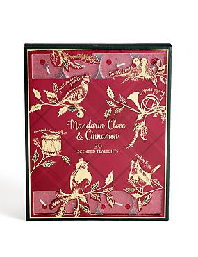 Mandarin, Cinnamon & Clove Scented 20 Pack Glitter Tea Lights, , catlanding
