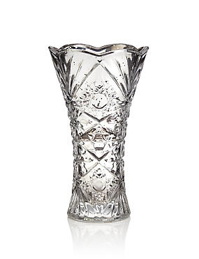 Flared Cut Glass Vase, SILVER, catlanding