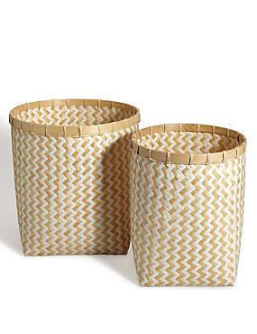 Set van 2 ronde manden van handgeweven bamboe, , catlanding