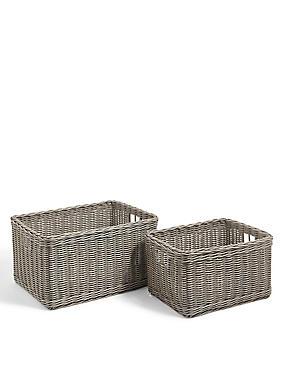 Rattan Set of 2 Storage Baskets, GREY, catlanding