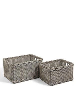 White Rattan Set Of 2 Storage Baskets, GREY, catlanding