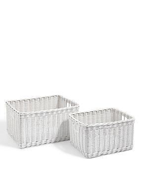 Rattan Set of 2 Storage Baskets, WHITE, catlanding
