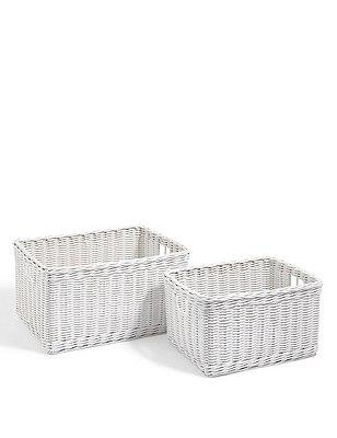 White Rattan Set Of 2 Storage Baskets, WHITE, catlanding